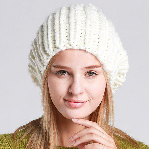 Chic Woolen Yarn Ball Embellished Vertical Stripy Women's Knitted Hat - WHITE