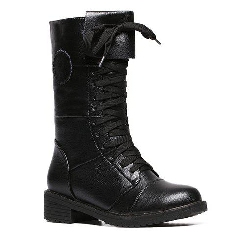 Trendy Embossing and Lace-Up Design Women's Combat Boots - BLACK 37