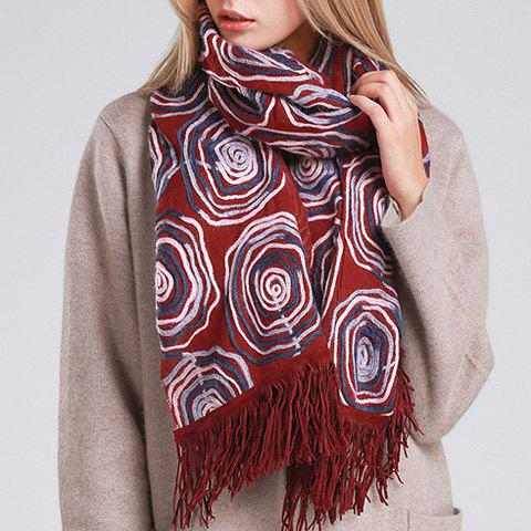 Chic Circle Round Rope and Tassel Embellished Women's Overlong Scarf - WINE RED