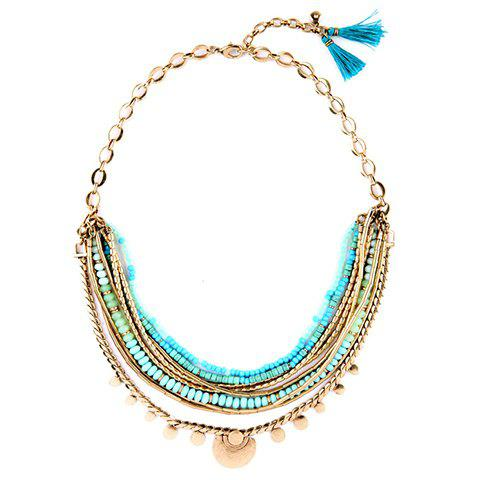 Tassel Faux Gemstone Beads Chain Necklace
