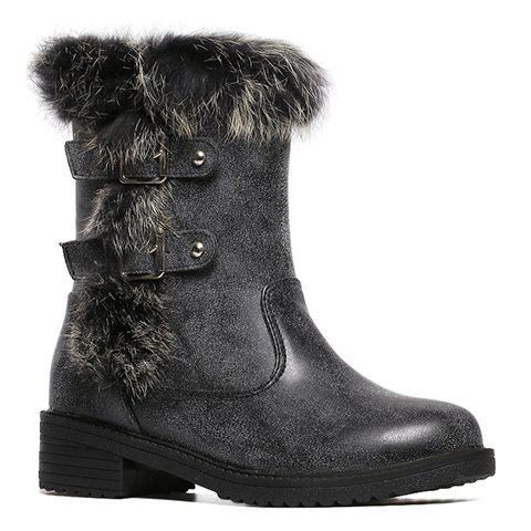 Casual Buckles and Faux Fur Design Women's Short Boots - BLACK 39