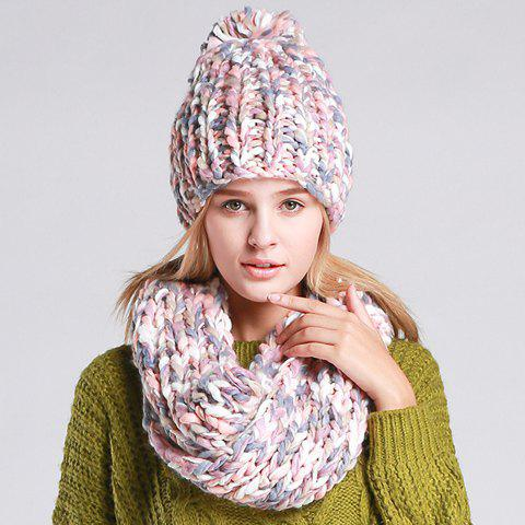 Chic Mixed Color Women's Knitted Hat and Scarf - PINK