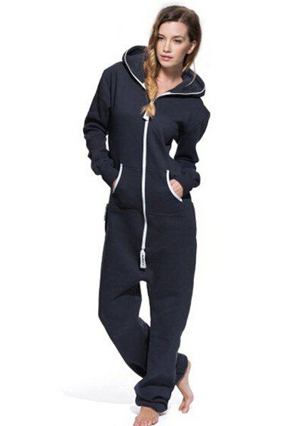 Active Hooded Zippered Long Sleeve Jumpsuit For Women, BLUE, XL in ...