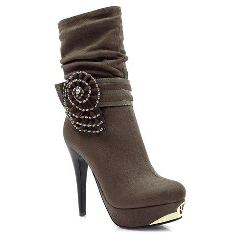 Fashion Zipper and Beading Design Short Boots For Women - DEEP GRAY 38