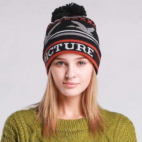 Chic Flying Bird and Letters Pattern Women's Knitted Beanie