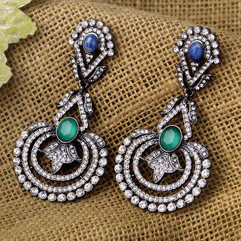 Pair of Retro Faux Crystal Hollow Out Floral Earrings For Women
