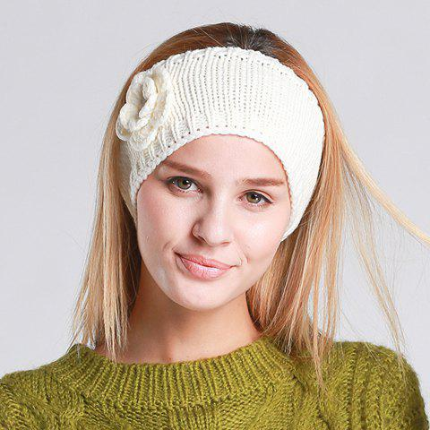 Chic Flower and Open Top Embellished Women's Knitted Beanie - WHITE