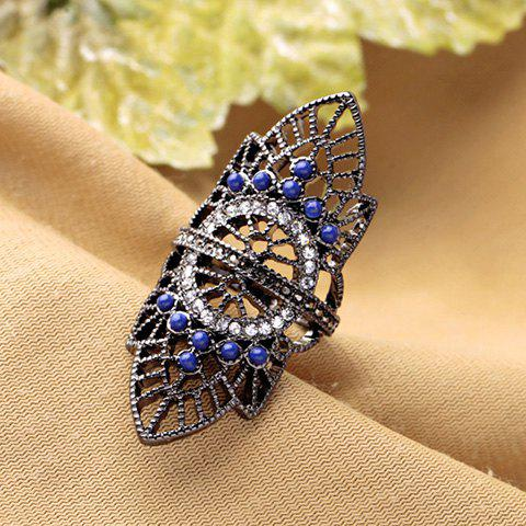 Rhinestoned Hollow Out Leaf Ring - BLACK GREY ONE-SIZE