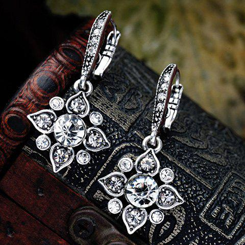 Pair of Retro Faux Crystal Rhinestone Hollow Out Floral Earrings For Women