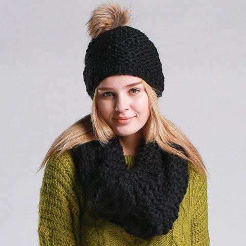Chic Small Ball Embellished Solid Color Women's Knitted Hat and Scarf - BLACK