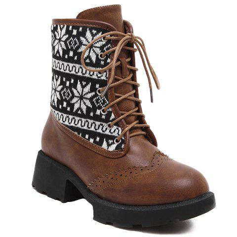 Vintage Engraving and Knitting Design Women's Short Boots - BROWN 38