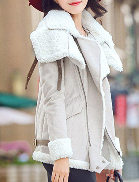 Attractive Faux Velour Turn-Down Collar Skew Zippered Thick Coat For Women - APRICOT 2XL