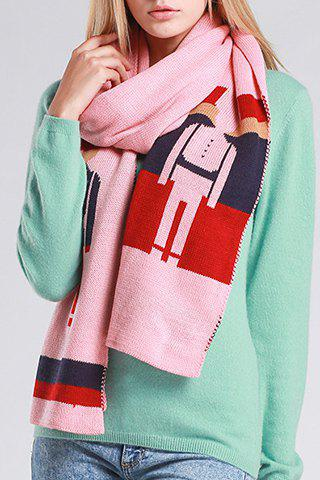 Chic Cartoon Guards Pattern Women's Knitted Scarf - PINK