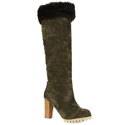 Pretty Chunky Heel and Slip-On Design Women's Knee-High Boots - GREEN 34