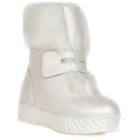 Sweet Faux Fur and Loop Design Snow Boots For Women - WHITE 39