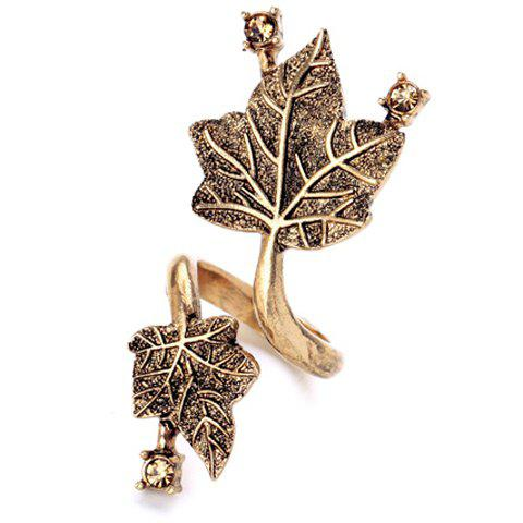 Chic Rhinestone Maple Leaf Cuff Ring For Women - GOLDEN ONE-SIZE