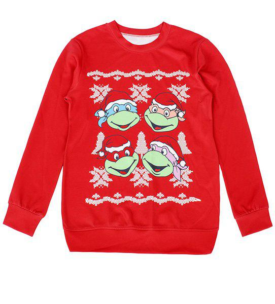 Cartoon Print Long Sleeve Round Neck Sweatshirt For Women