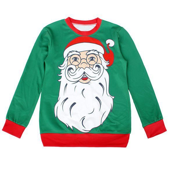 Christmas Hit Color Long Sleeve Round Neck Sweatshirt For Women - GREEN M