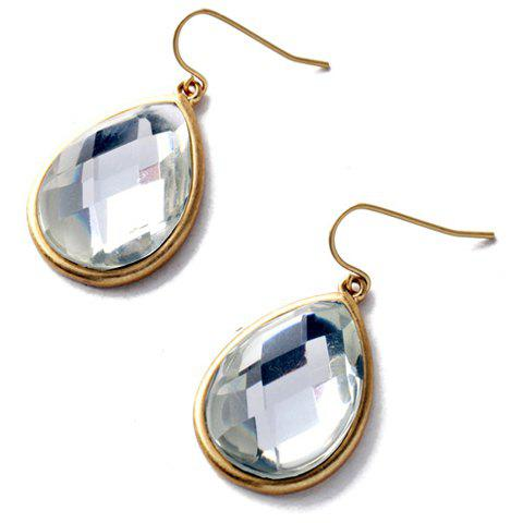 Pair of Faux Gemstone Water Drop Earrings - WHITE