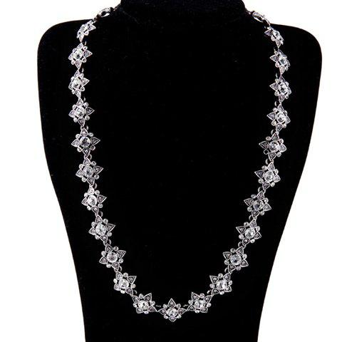 Stylish Rhinestoned Artificial Crystal Water Drop Sweater Chain For Women - SILVER GRAY