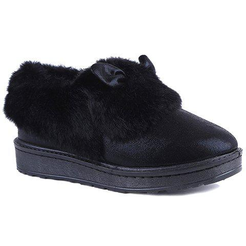 Sweet Flat Heel and Artificial Fur Design Women's Snow Boots - BLACK 38