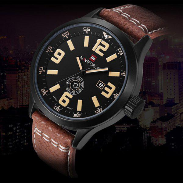 Naviforce 3682 Men Quartz Watch with Day Date Display - BROWN