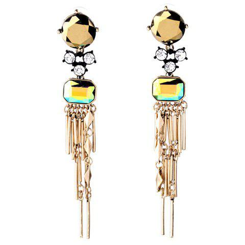 Pair of Charming Rhinestone Faux Crystal Bar Drop Earrings For Women - GOLDEN