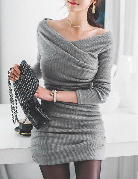 Stylish Women's V-Neck Long Sleeve Ruched Sweater Dress - GRAY S