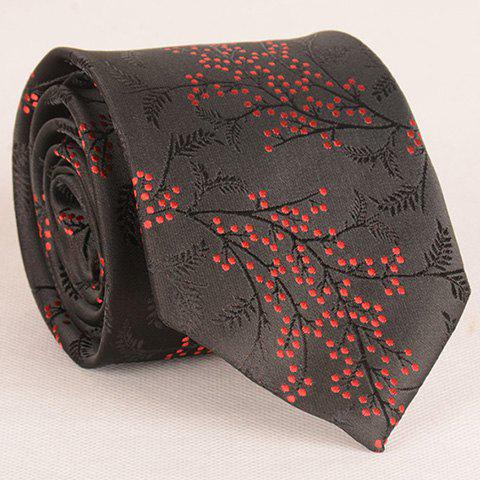 Stylish Polka Dot and Leaf Jacquard 8CM Width Tie For Men -  BLACK