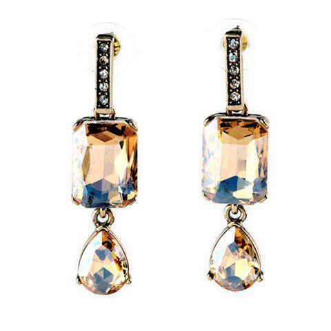 Pair of Artificial Crystal Rhinestone Water Drop Earrings - COFFEE