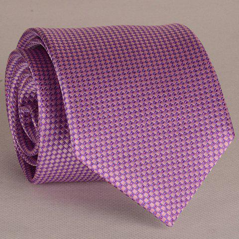 Stylish Small Latticed Jacquard 8CM Width Light Purple Tie For Men