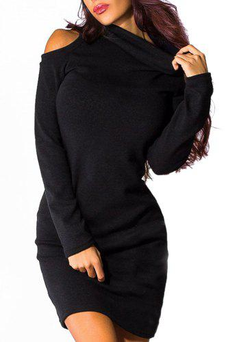 Chic Turtleneck Long Sleeve Pure Color Cut Out Bodycon Women's Dress