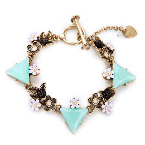 Elegant Faux Crystal Rhinestone Triangle Shape Bracelet For Women - BRONZE COLORED
