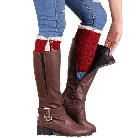 Pair of Chic Lace Buttons Hollow Out Rhombus Women's Knitted Boot Cuffs - DEEP RED