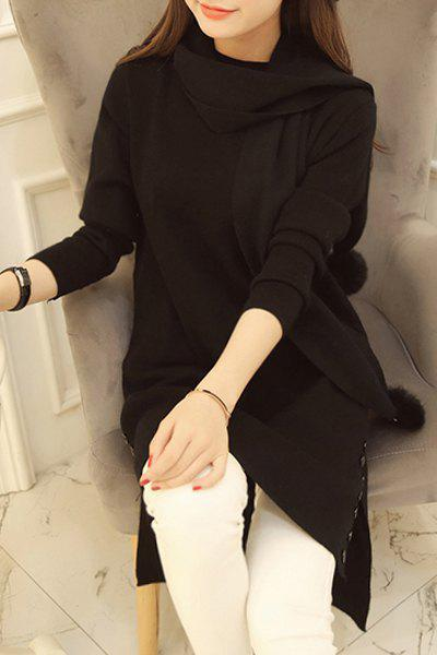 Sweet Solid Color Stand Collar Long Sleeve Knitted Dress and Scarf Twinset For Women - BLACK ONE SIZE(FIT SIZE XS TO M)