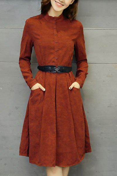 Vintage Stand Collar Long Sleeve Pure Color Pocket Design Women's Dress - RED M