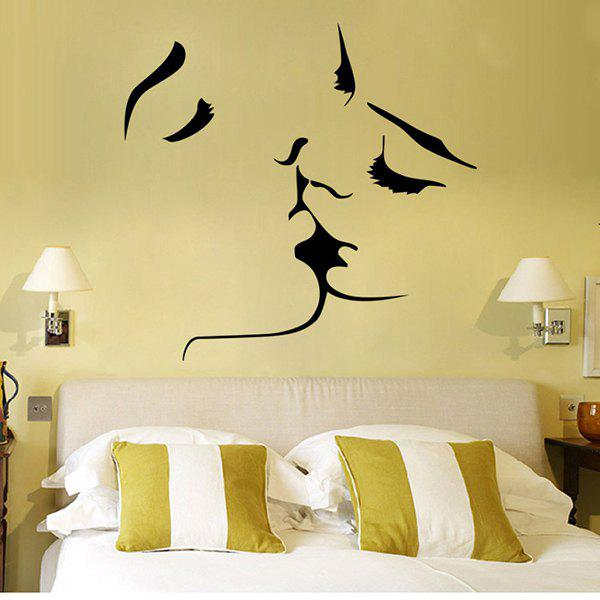 High Quality Kissing Pattern Removeable Waterproof Background Wall Sticker - BLACK