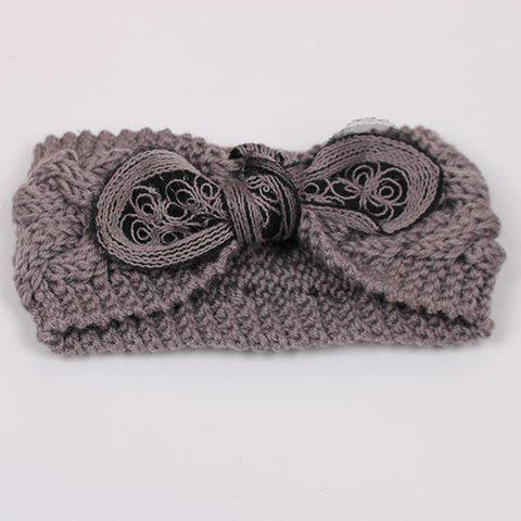 Chic Sequins Bowknot Open Top Embellished Women's Knitted Beanie - LIGHT GRAY