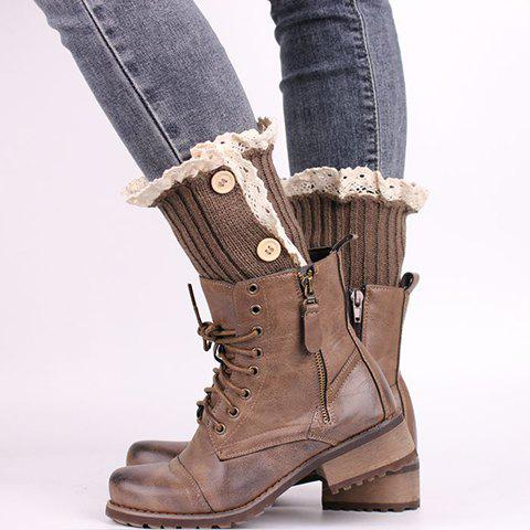 Pair of Chic Lace Edge Buttons Embellished Women's Knitted Boot Cuffs - KHAKI