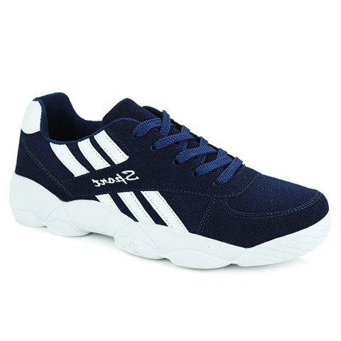 Stylish Colour Block and Stripes Design Athletic Shoes For Women - 42 BLUE