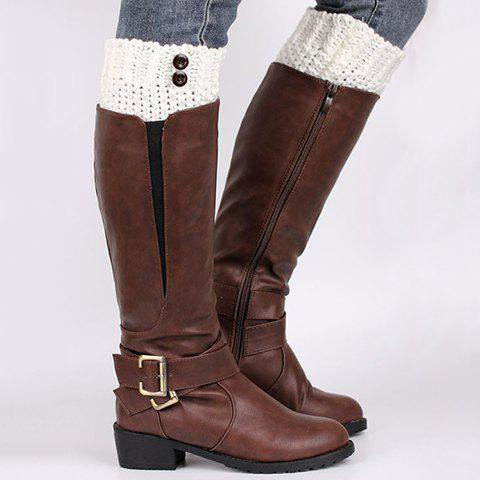 Pair of Chic Buttons Embellished Solid Color Women's Knitted Boot Cuffs - WHITE