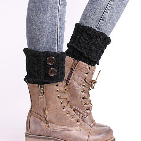Pair of Chic Buttons Embellished Hemp Flowers Women's Knitted Boot Cuffs - BLACK