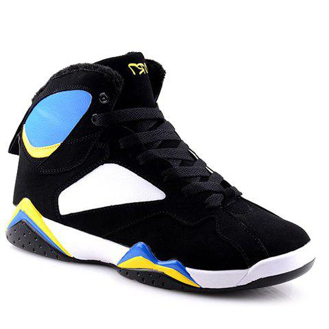 Fashionable Color Block and Lace-Up Design High Top Sneakers For Men