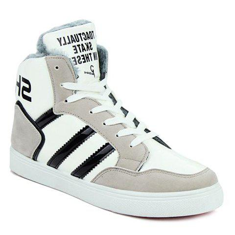 Stylish Stripes and Patent Leather Design Casual Shoes For Men - GRAY 41