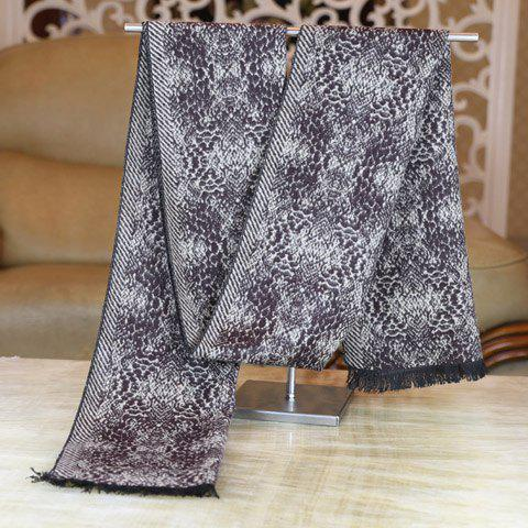 Stylish Python Skin Pattern Fringed Edge Winter Scarf For Men - GRAY