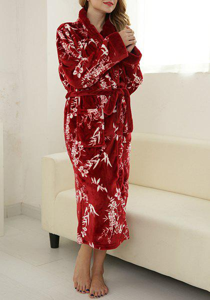Eleagnt Shawl Collar Floral Printed Belted Thick Coral Fleece Bathing Coat For Women - RED M