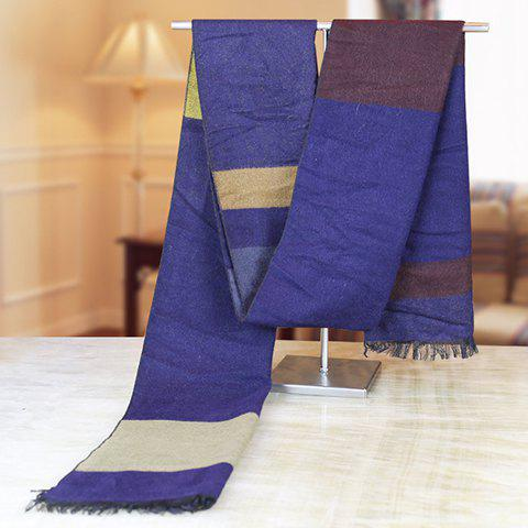 Stylish Color Block Fringed Edge Winter Scarf For Men