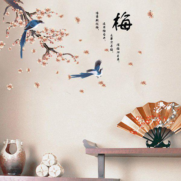 High Quality Plum Flower Bird Shape Removeable Waterproof Background Wall Sticker -  COLORMIX