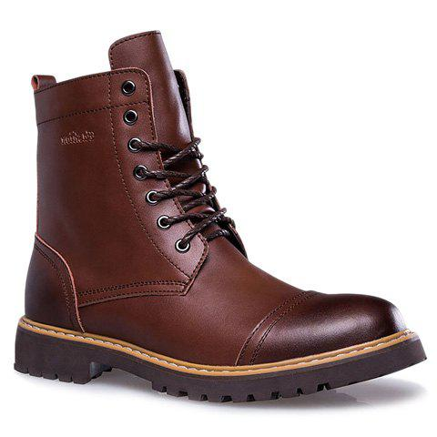British Style Lace-Up and Solid Color Design Short Boots For Men