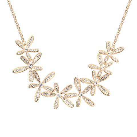 A Suit of Exquisite Rhinestoned Blossom Shape Necklace and Earrings For Women - GOLDEN
